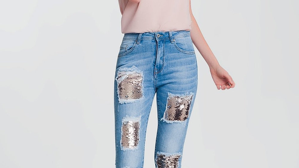 Strapped Skinny Jeans With Sequins