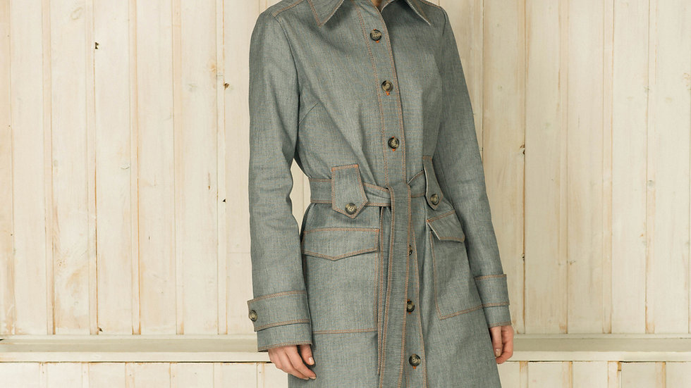 Single-Breasted Denim Trench Coat