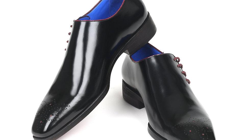Men's Side Lace Oxfords Black Polished Leather