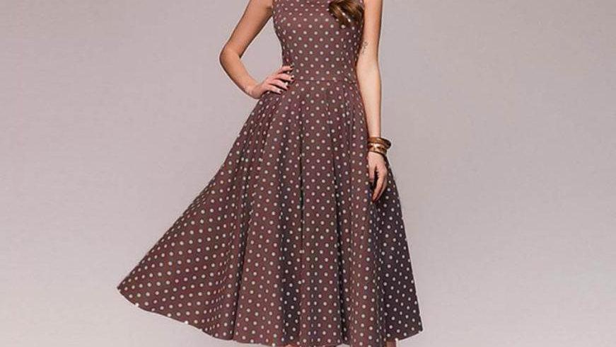 Womens Polka Dot Sleeveless Hebburn Vintage Summer Dress