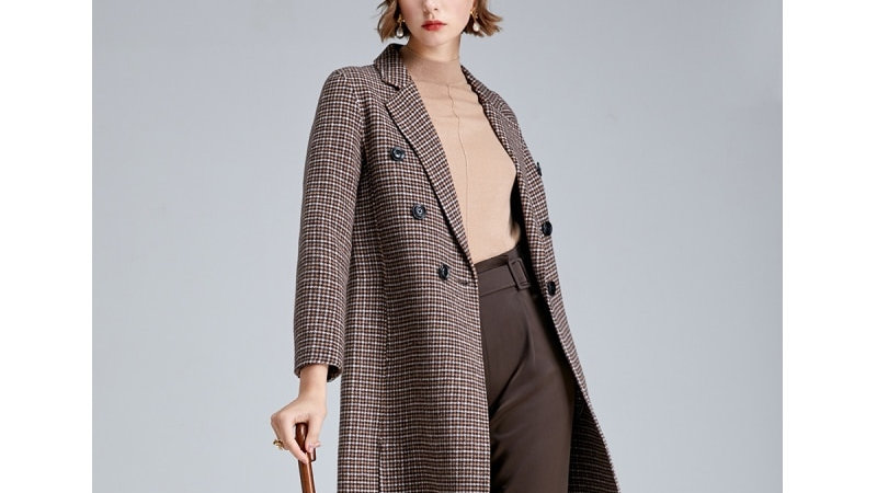 Women's Retro Houndstooth Wool Coat  (S|419327502)