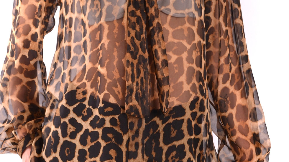 Saint Laurent Women's Leopard Print Top