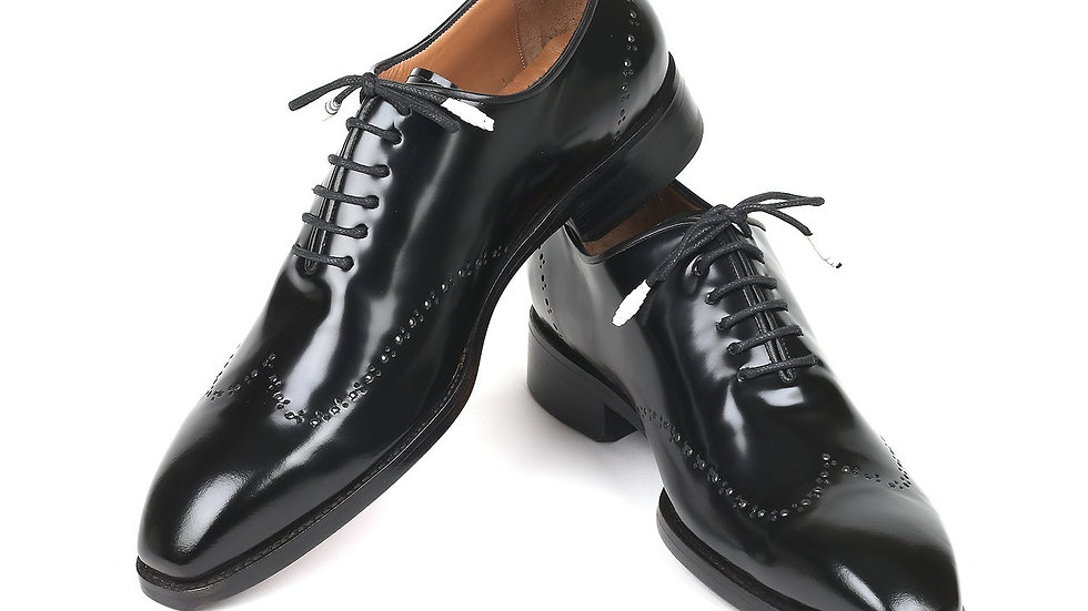 Men's Goodyear Welted Wingtip Oxfords Black Leather