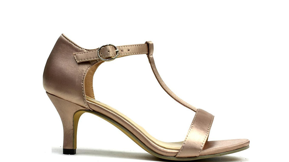 Open Toe Satin Sandal Rose Gold