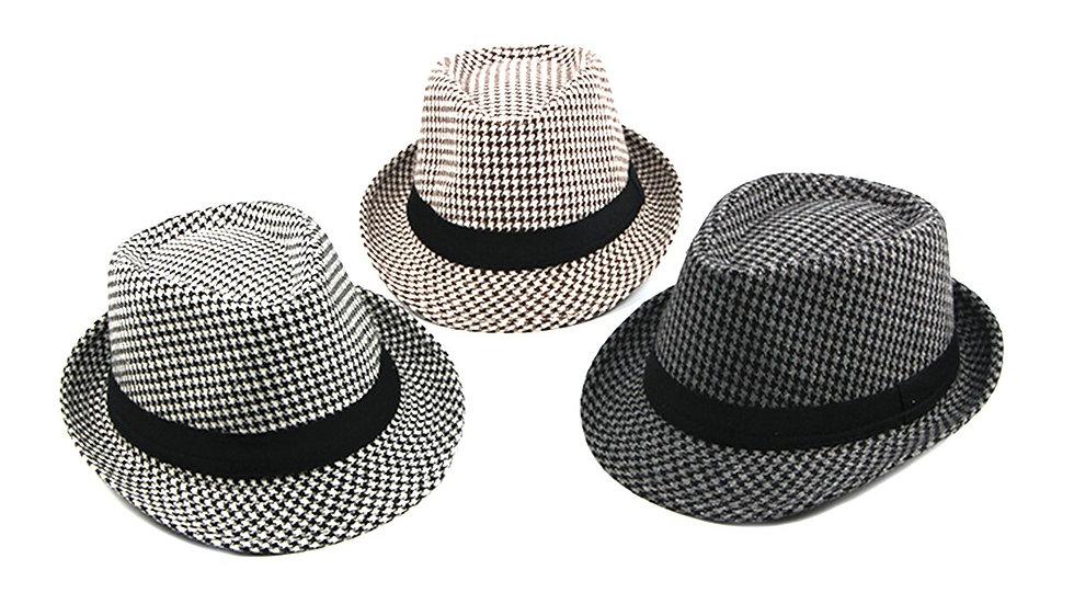 Men' s Houndstooth Fedora Hat