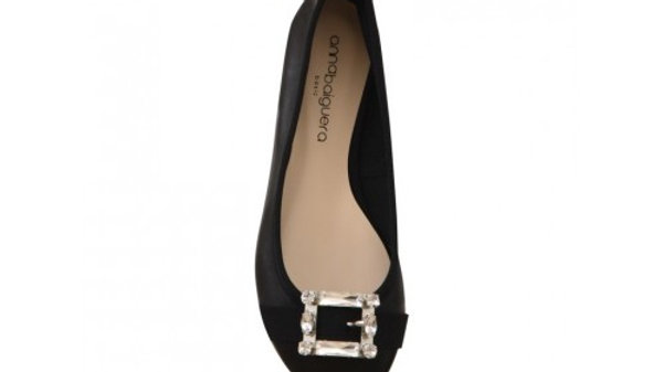 Anna Baiguera Black Ballerina Flats With Crystals