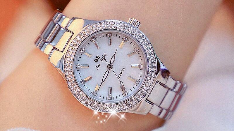 Ladies Crystal Stainless Steel Wristwatch