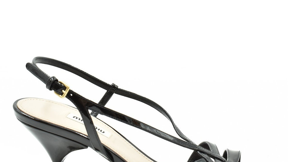 Miu Miu Black Women Patent Leather Sandals - 5X154D 3Asn F0002