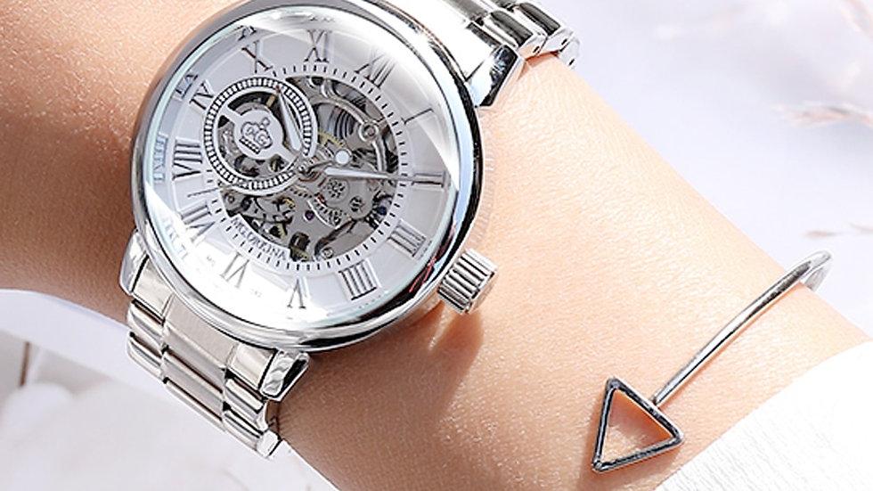 Women's Skeleton Mechanical Wrist Watch