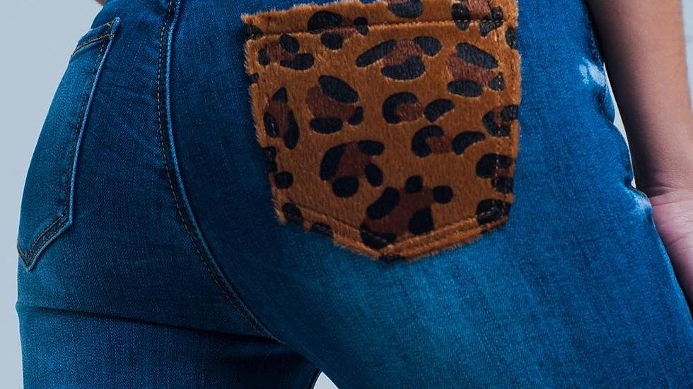 Skinny Jeans With Leopard Print Pocket Detail