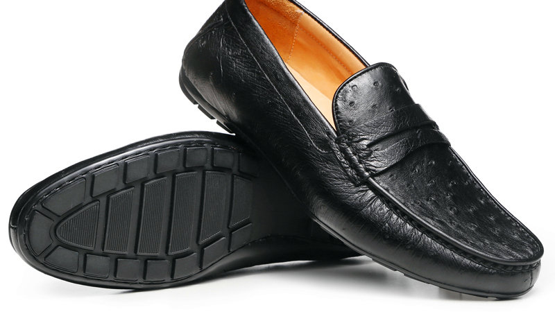 Mens Black Ostrich Leather Loafers