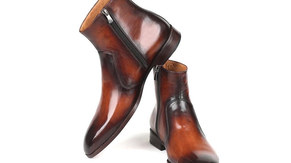 Paul Parkman Brown Burnished Side Zipper Boots (ID#BT486-BRW)