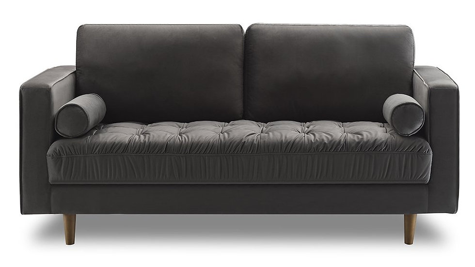 Bente Tufted Velvet Loveseat 2-Seater Sofa - Grey