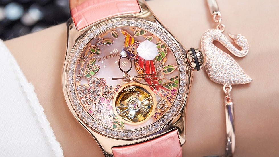 Reef Tiger/Rt Womens Luxury  Diamond Tourbillon Strap Watch