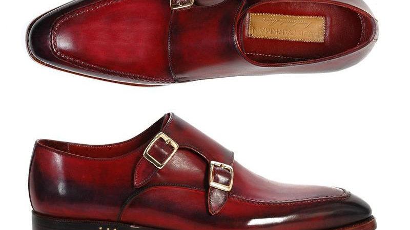 Men's Double Monkstrap Shoes Black & Bordeaux