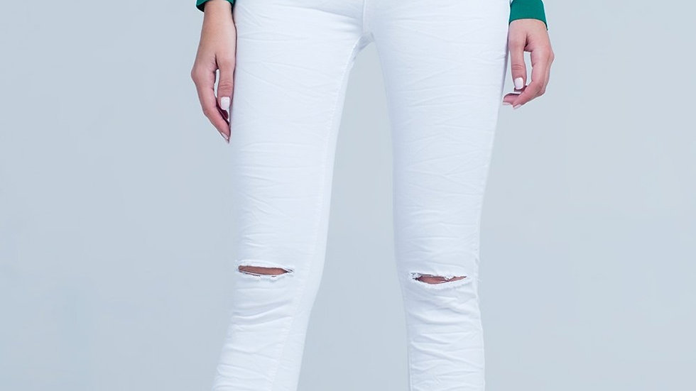 White Skinny Jeans With Ripped Knees