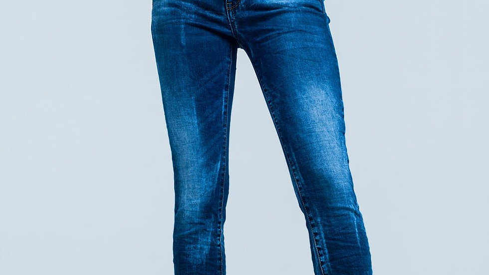 Blue Wrinkled High-Waist Skinny Jeans