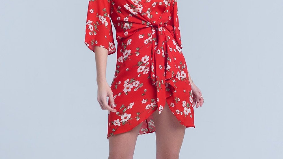 Red Floral Print Midi Dress in Chiffon