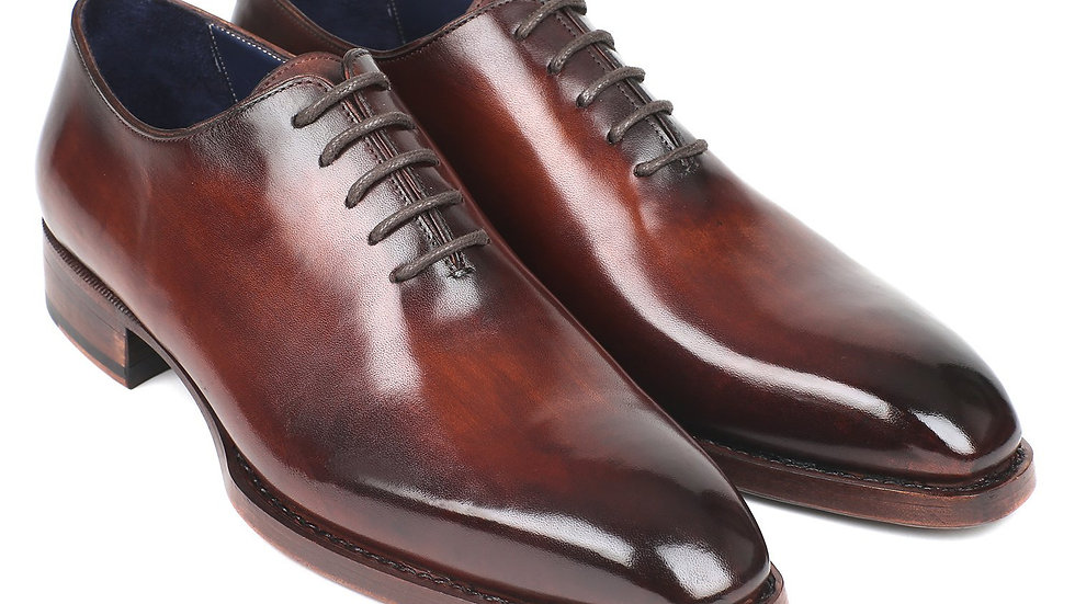 Goodyear Welted Wholecut Oxfords Brown Hand-Painted