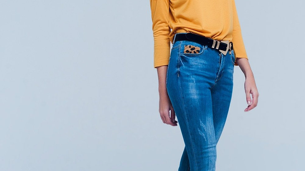 Skinny Jeans With Leopard Detail