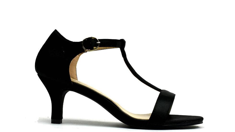 Women's Open Toe Ankle T-Strap Kitten Heel Shoes