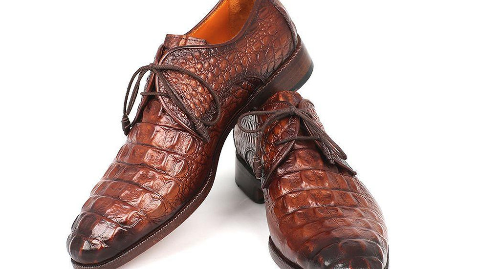 Men's Light Brown Crocodile Embossed Calfskin Derby Shoes
