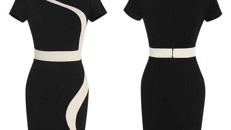 Evelyn Belluci Contrast Black Work Dress