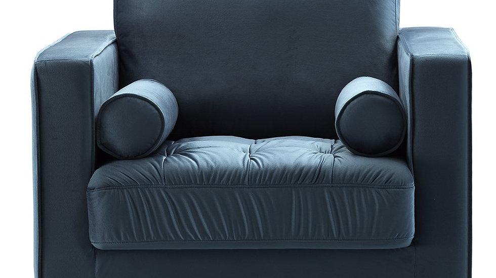 Bente Tufted Velvet Lounge Chair - Light Blue