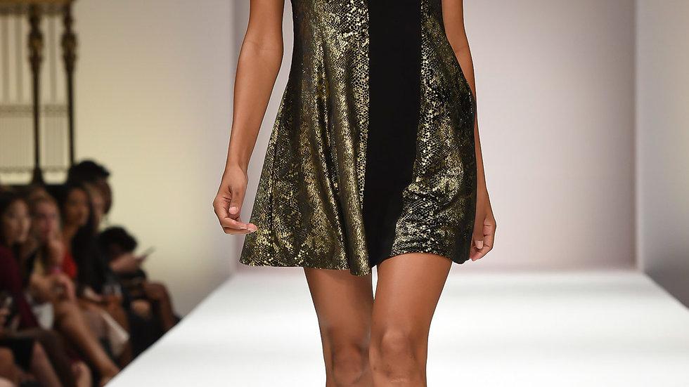 Women's Gold Black Mini Dress