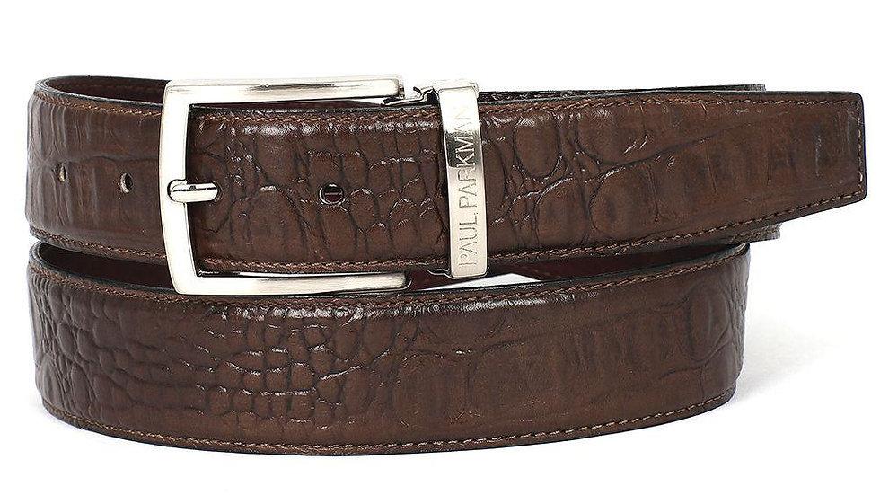 Men's Crocodile Embossed Calfskin Leather Belt