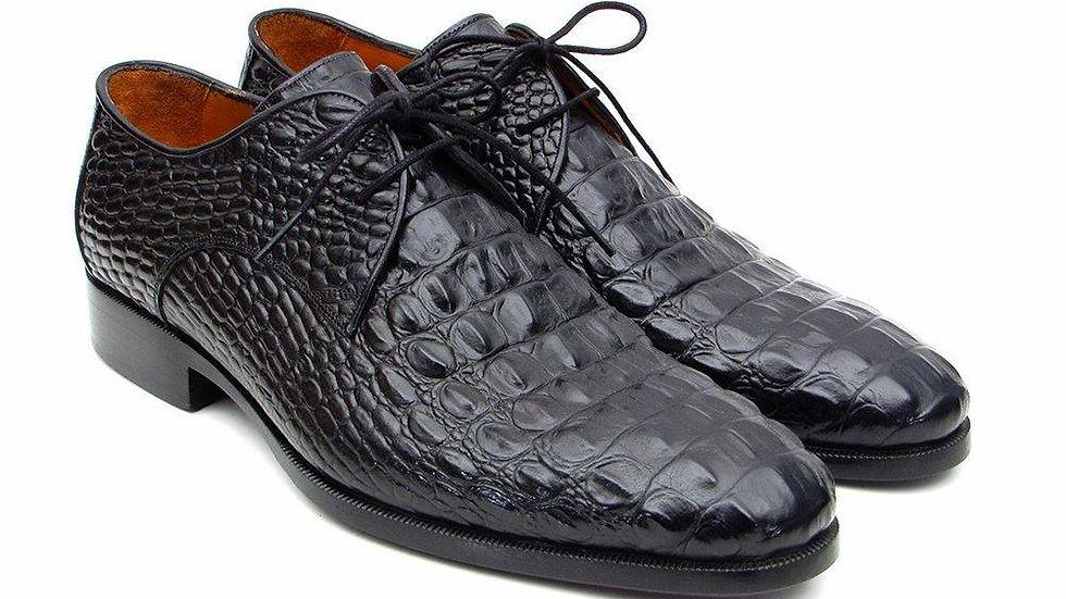 Men's Black Crocodile Embossed Calfskin Derby Shoes