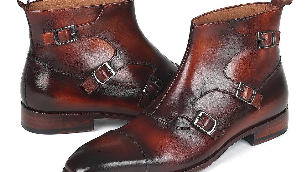 Paul Parkman Triple Monkstrap Boots Brown Leather (ID#88951-BRW)