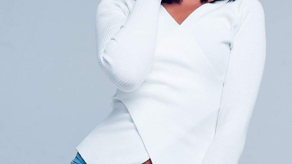 Women's Cream Ribbed V-Neck Sweater