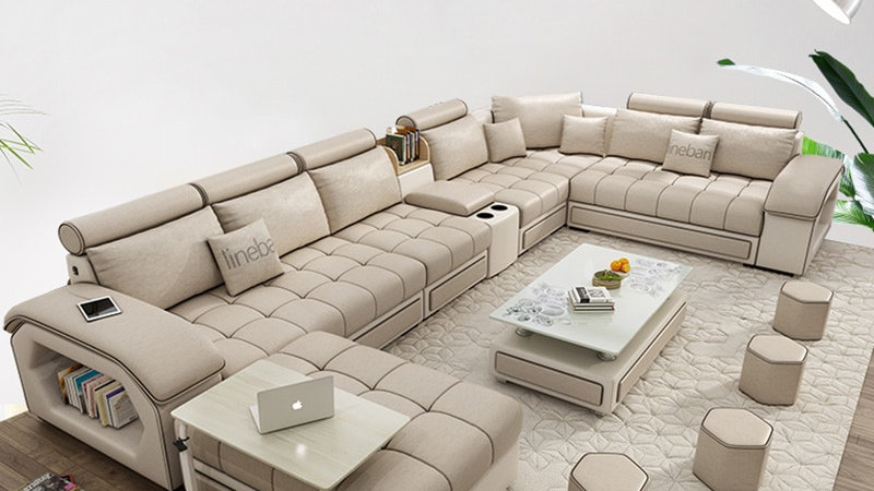 Living Room Furniture Modern Fabric Sofa European Sectional Sofa Set 1901