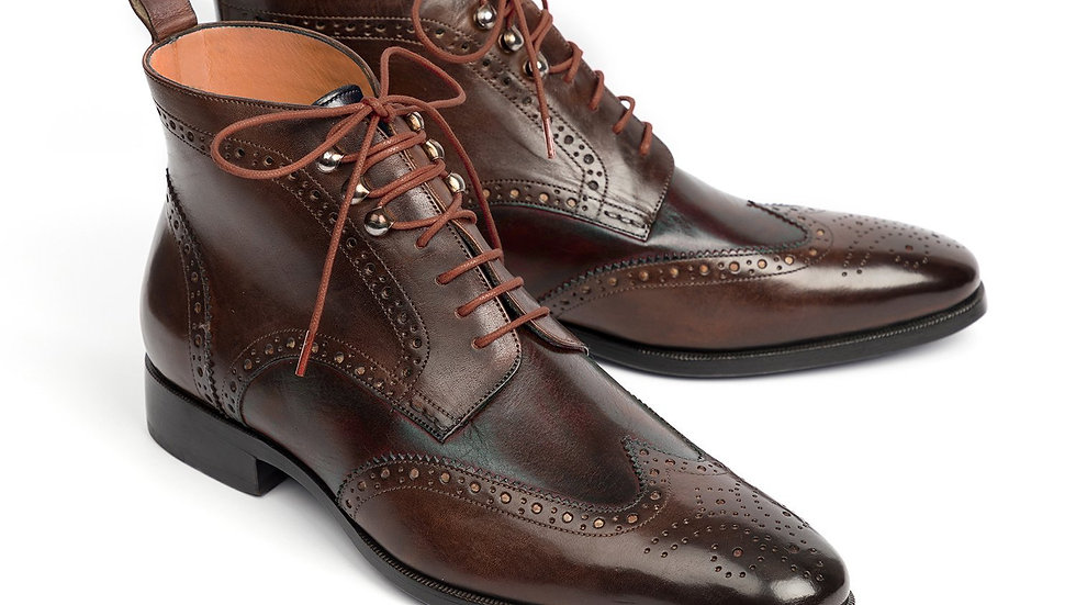 Paul Parkman Wingtip Ankle Boots Brown