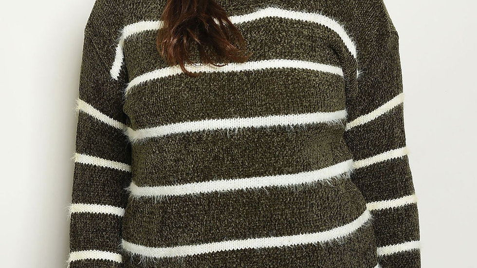 Shop the Trends Plus Size Striped Sweater