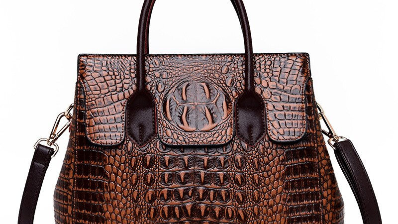 Vintage Fashion Crocodile Genuine Leather Luxury Handbag