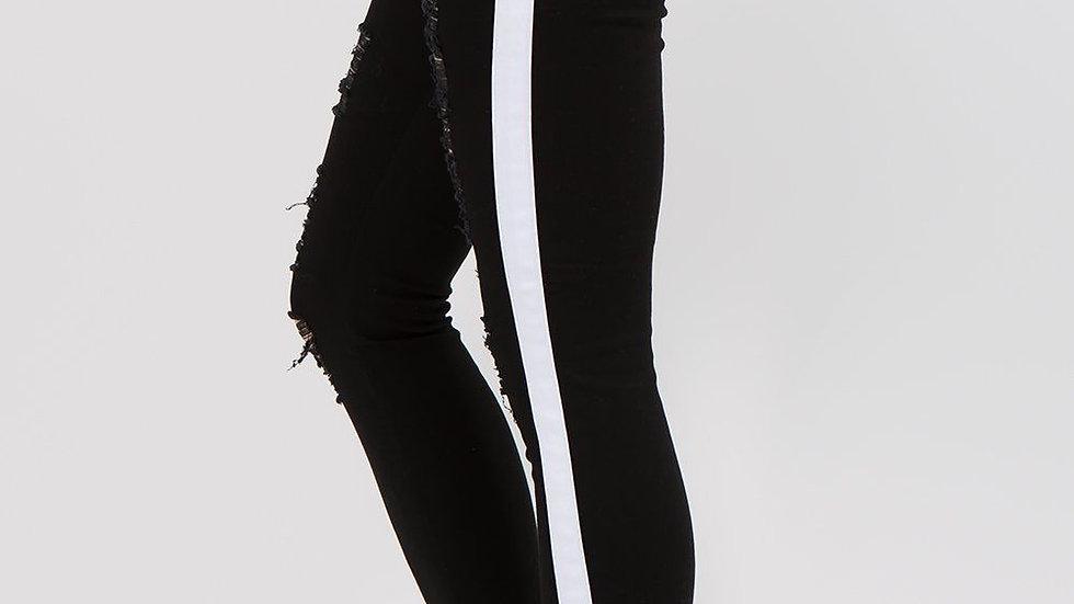 Women's Black Distressed Track Jeans