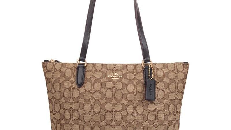 Coach Signature Jacquard Zip Tote Handbag