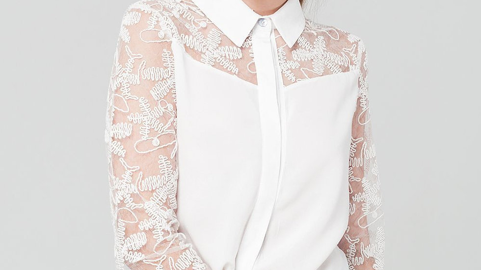 Women's White Blouse With Lace Details