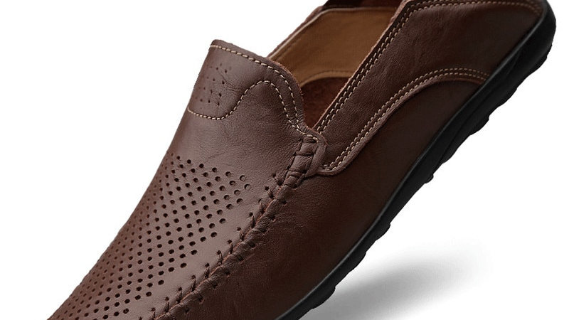Men's Genuine Leather Casual Slip-On Driving Shoes