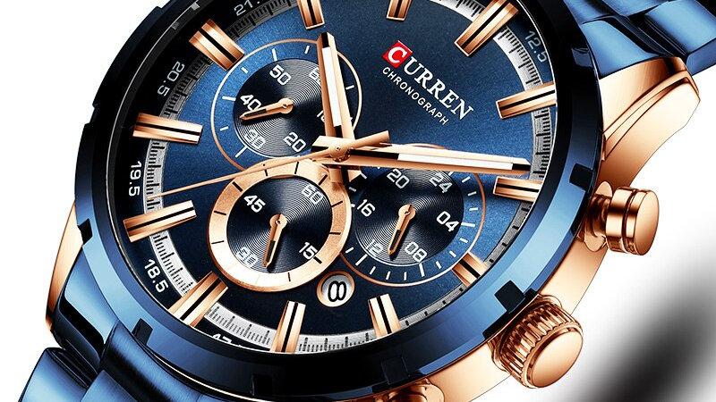 Curren Men's Luxury Designer Blue Steel Quartz Wrist Watch