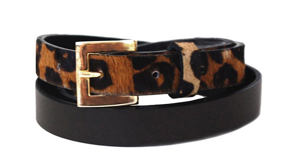 Sophia Genuine Leather & Cowhide Belt -Brown