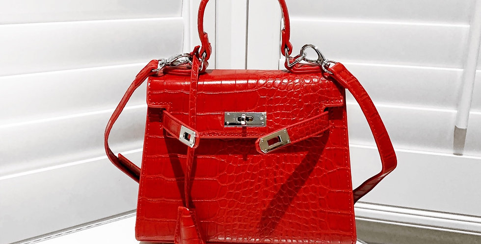 Red Celia croc bag w/ tag
