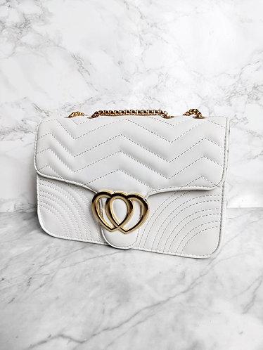 Polly flap bag white