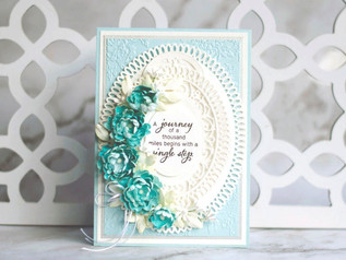 Blue Floral card with Amazing Paper Grace
