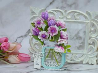 Amazing Paper Grace March Die of the Month Blog Hop – Mini 3D Vignette Floral Mason Jar
