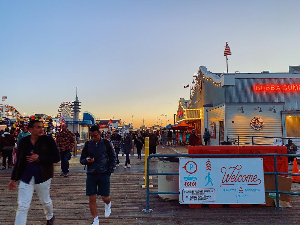 The sunset landscape at Santa Monica Pier