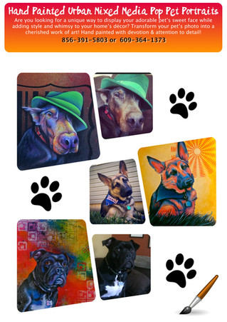 Hand Painted Mixed Media Urban Pop Pet Portraits *Limited Time For Holiday!*