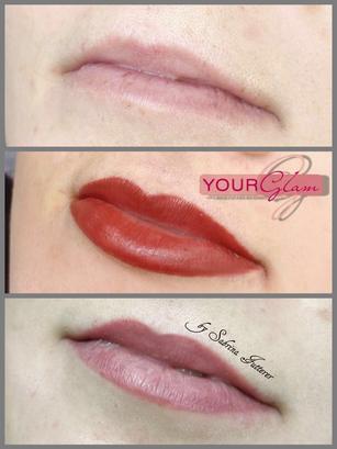 Lippenschattierung vorher, frisch pigmentiert und abgeheilt